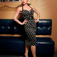 Deadly Dames Wiggle Dress in Black with White Polka Dots