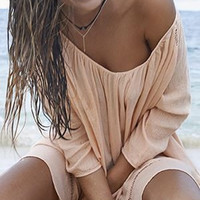 Blouse ~ Apricot Blush Blouse & White Sandy Beaches Swimsuit Cover Up or Mini - Summer Gorgeous!