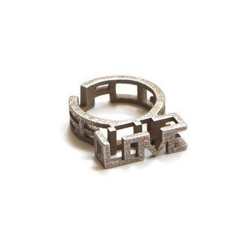 Because U Love Me Ring in Stainless Steel 3D by ArchetypeZ
