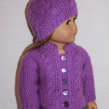 18 inch doll clothes, hand knit purple sweater with cables, purple hand knit hat with cables, Upbeat petites
