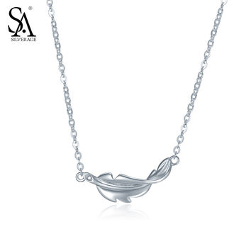 SA SILVERAGE Real 925 Sterling Silver Feather Necklaces & Pendants Fine Jewelry