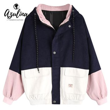 AZULINA Winter Jacket Women Color Block Hooded Corduroy Jacket Female Drawstring Hit Color Patched Pockets Coat Women Outerwear
