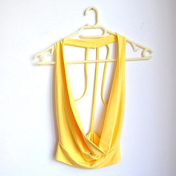 90s Yellow Halter Top Open Back Backless Open Front Small S Medium M