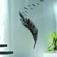 Feathers with Birds Decal Sticker Wall Vinyl Art Artwork Boy Girl Teen Decor