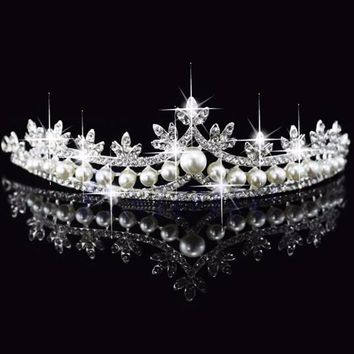 Bridal Princess Rhinestone Pearl Crystal Hair Tiara Wedding Crown Veil