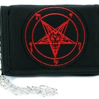 Red Classic Sigil of Baphomet Pentagram Tri-fold Wallet w/ Chain Occult