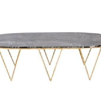 Surf Oval Hairpin Gold Leaf Coffee Table