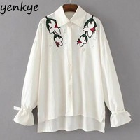 Women Beading Linen Blouses Shirts Turn down Collar Long Sleeve Tie Cuffs Casual Autumn Blouse