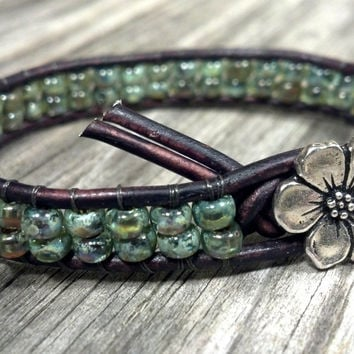 Olivine Leather Wrap Bracelet, Friendship Bracelet, Boho, Apple Blossom Flower