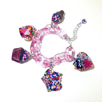 Candy charm bracelet, food jewelry, cupcake charm bracelet, sprinkles charm bracelet, ice cream cone jewelry, kawaii jewelry