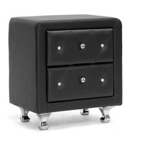 Baxton Studio Stella Crystal Tufted Black Upholstered Modern Nightstand Set of 1