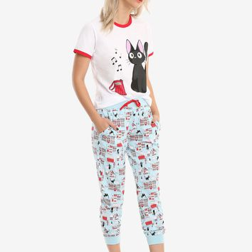 Licensed cool Kikis Delivery Service Jiji Cat PJS PAJAMAS 2piece Sleep Set JRS S-XL NWT
