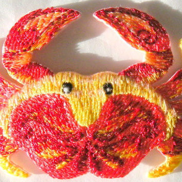 This beautiful embroidered crab has lots of Details Iron or Sew On patch by Cedar Creek Patch Shop on Etsy