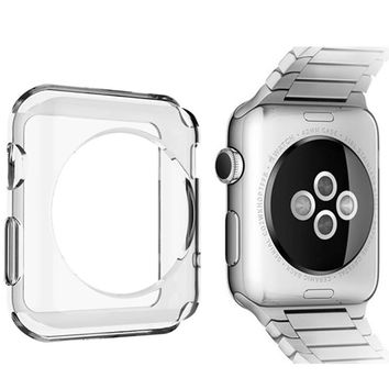 POMER Smart watch case transparent ultra thin soft TPU gel clear protective cover for Apple Watch Series 1 2 Protective Skin