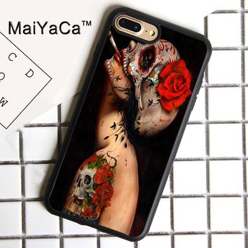 MaiYaCa Floral Sugar Skull Tattooed Print Soft Rubber Cover For iPhone 8 Plus Case For Apple iPhone 8plus Phone Cases Shell