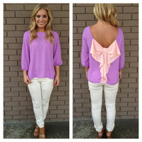 Lilac Two-Tone Bow Back Blouse