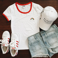 Rainbow Embroidered Ringer Tee