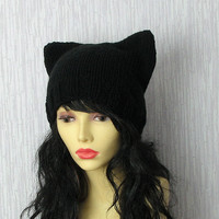 Knit  Hat Cat Ears Hat Cat Beanie beanie hat  Slouch Beanie womens slouchy Cat in black