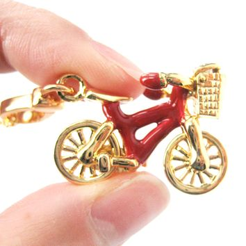 Detailed Bicycle With Basket Pendant Necklace in Red and Gold | Limited Edition Jewelry