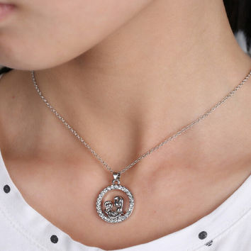 Mom and Baby Crystal Circle Pendant & Necklace / The Perfect Mother's Day Gift!