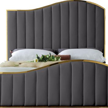 Jolie Grey Velvet Queen Bed