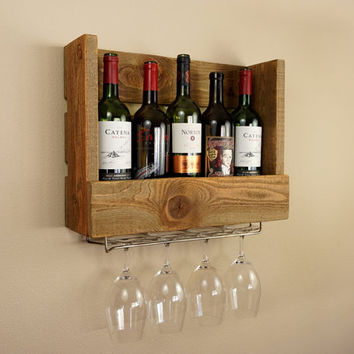 Rustic Wine Rack and Wine Glass Holder