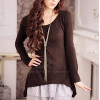 Coffee Knitted Two-Piece Dress