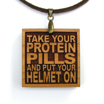 DAVID BOWIE - Take Your Protein Pills And Put Your Helmet On - Song Lyric Jewelry Pendant and Necklace - Custom Lyrics Available