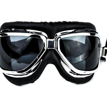 Dark Black Lens Classic Aviator Goggles Motorcycle Riding Glasses