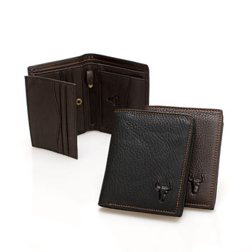 Men Leather Big Size Multi-function Zippers Bags Wallet [9026283715]