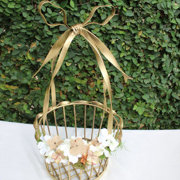 ON SALE Rustic Wedding Gold Basket / Wedding Card box / Wrought Iron Basket /  Bow Basket