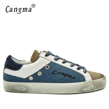 CANGMA Famous Brand Sneakers Men Shoes Spring Autumn Handmade Blue Brown Basse Canvas Leather Casual Shoes Big Size Scarpa Uomo