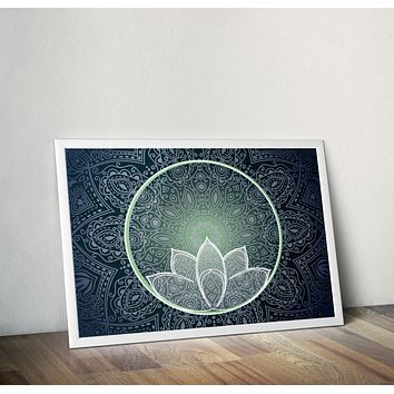 Reiki Charged Dark Blue Mandala Lotus Poster Bohemian Art Print Poster With Green and White Lotus Flower Design no frame 20x30 Large