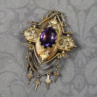 Victorian Gold Plated Amethyst Glass Crosses Brooch
