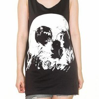Romantic Skull Illusion Charcoal Black Tank Top Punk Indie Rock Size M