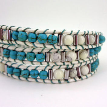 3 Wrap Blue  White Turquoise Bead Leather Wrap Bracelet