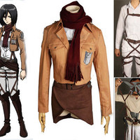Mikasa Ackerman  Custom Cosplay Costume Outfit, Attack on Titan Costume