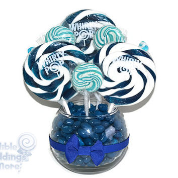 Small Royal Blue Lollipop Centerpiece, Wedding Centerpiece, Royal Blue, Blue, Lollipop Centerpiece, Candy, Buffet, Centerpiece, Blue Wedding