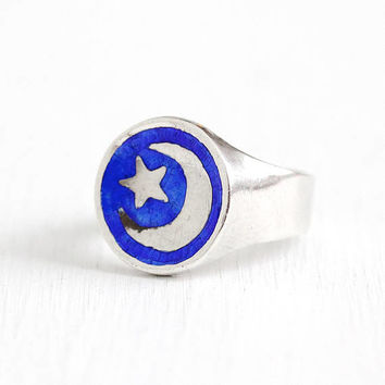Vintage Sterling Silver Blue Enamel Star & Crescent Moon Siam Ring - Retro Size 5 3/4 Statement Celestial Night Sky Figural Thai Jewelry