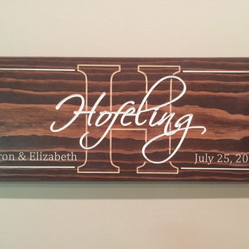 Custom carved, engraved family name sign great for wedding or anniversary gift, new home/housewarming decor, stained wood