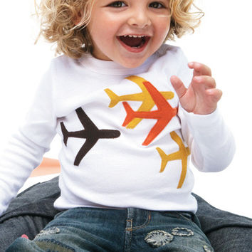 Autumn Planes on White Applique Tee or Onesuit