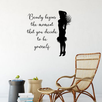 Beauty Begins the Moment That You Decide To Be Yourself with Dancing Girl Silhouette Vinyl Wall Decal Sticker Graphic