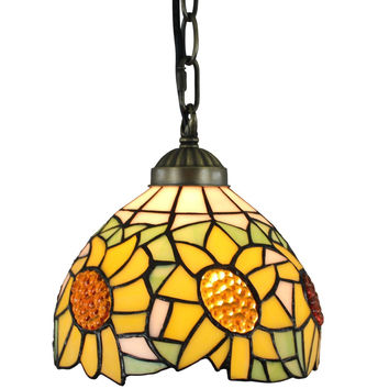 Tiffany Style Sunflower 8-inch Hanging Pendant Lamp
