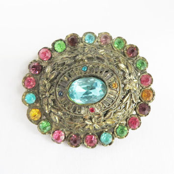 Vintage Little Nemo Rhinestone Brooch, 1930's L/N Pin, Multi Color Bouquet Pin, Gold Tone Brooch