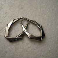 Vintage Sterling Silver  Angled  Hoop Pierced Earrings, Locking Hinged Post,  1.25""