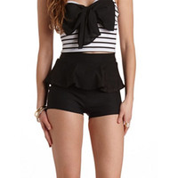 STRETCHY PEPLUM HIGH-WAISTED SHORTS