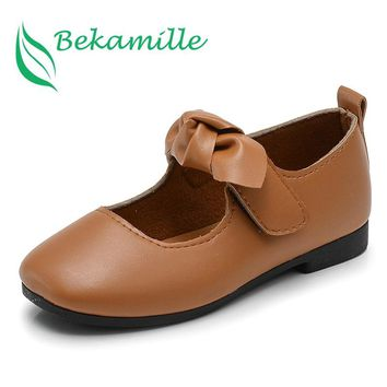 Girls leather shoes 2017 Autumn New Bow Single shoes Kids solid color girls baby student soft sole dance shoes