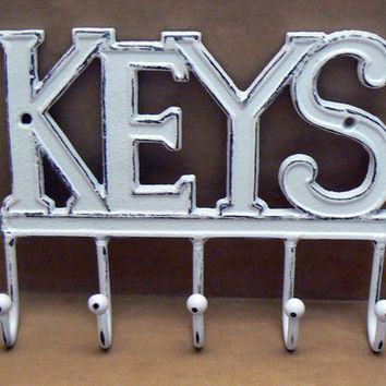 Keys Wall Hook Shabby Chic Distressed Cast Iron White White Mudroom Entryway Home Decor Jewelry Hat Key Scarf Leash 5 Hooks