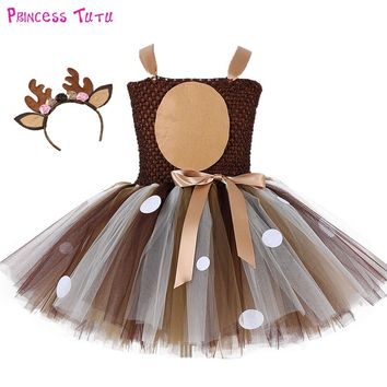Halloween Deer Girl Tutu Dress Baby Girls 1st Birthday Party Dress Children Thanksgiving Christmas Autumn Winter Cloths For Kids