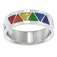 Stainless Steel Rainbow Triangle Ring | Overstock.com